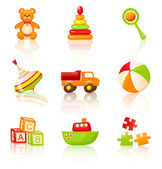 Colourful children's toys. Vector icons. — Stock Vector