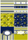 Collection of marine backgrounds in dark blue, yellow and white — Stock Vector