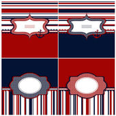Collection of marine backgrounds in dark blue, red and white col — Stock Vector