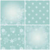 Set of blue backgrounds with snowflakes. — Stock Vector