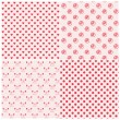 Seamless patterns in pink colors — Stock Vector