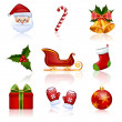 Colored Christmas and New Year icons. Vector illustration. — Stock Vector
