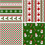 Christmas seamless patterns. Vector illustration. — Stock Vector
