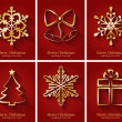 Greeting cards with golden Christmas symbols. — Stock Vector