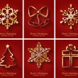 Greeting cards with golden Christmas symbols. — Stock Vector #36869577