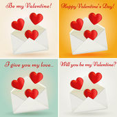 Set of Valentine's Day greeting cards. Vector illustration. — Stock Vector