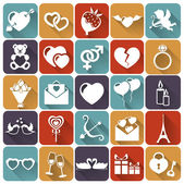 Set of love and romantic flat icons. Vector illustration. — Stockvector