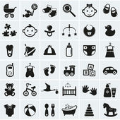 Baby icons set. Vector illustration. — Stock Vector