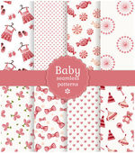 Baby seamless patterns. Vector set. — Stock Vector