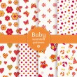 Colorful baby seamless patterns. Vector set. — Stock Vector