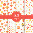Baby seamless patterns in pastel colors. Vector set. — Stock Vector #41450293
