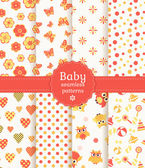 Baby seamless patterns in pastel colors. Vector set. — Stock Vector