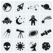Space and astronomy icons. Vector set. — Stock Vector #42297751