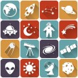 Space and astronomy flat icons. Vector set. — Stock Vector