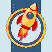 Card with space rocket. Vector illustration. — Stock Vector