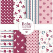 Baby seamless patterns. Vector set. — Stock Vector #43364399