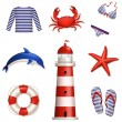 Set of sea and beach icons. Vector illustration. — Stock Vector #43364469