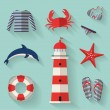 Set of sea and beach flat icons. Vector illustration. — Stock Vector #44091567