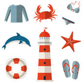 Set of sea and beach flat icons. Vector illustration. — Stock Vector