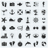 Set of sea and beach icons. Vector illustration. — Stock Vector