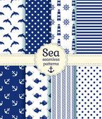 Sea seamless patterns. Vector collection. — Stock Vector