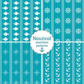 Nautical seamless patterns. Vector collection. — Stock Vector
