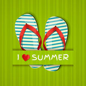 I love summer. Card with flip-flops. — ストックベクタ