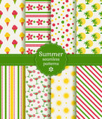 Summer seamless patterns. Vector collection. — Stockvektor