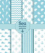 Sea seamless patterns. Vector collection. — Stock Vector