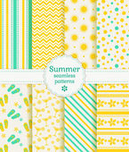 Summer seamless patterns. Vector collection. — Stock Vector