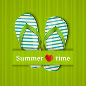 Summer time. Card with flip flops. Vector illustration. — ストックベクタ