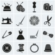 Sewing and needlework icons. Vector set. — Stock Vector #47232471