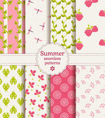 Seamless summer patterns. Vector set. — Stock Vector