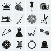 Sewing and needlework icons. Vector set. — Stock Vector