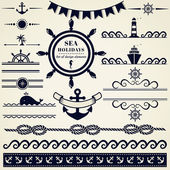 Nautical and sea design elements. Vector set. — Stock Vector