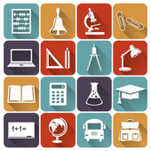 School and education flat icons. Vector set. — Stock Vector