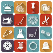 Sewing and needlework flat icons. Vector set. — Stock Vector