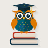 Wise owl sitting on the books. Vector illustration.  — Stock Vector