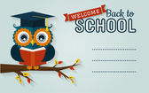 Back to school. Card with learned owl and a place for text. — Stock Vector