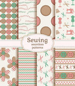 Sewing and needlework seamless patterns. Vector set. — Stock Vector