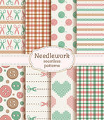 Needlework seamless patterns. Vector set. — Stock Vector