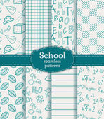 School seamless patterns. Vector set. — Stock Vector