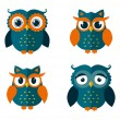 Set of owls isolated on white. Vector illustration. — Stock Vector