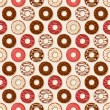 Donuts background. Vector seamless pattern. — Stock Vector