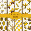 Autumn seamless patterns. Vector set. — Stock Vector
