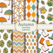 Autumn seamless patterns. Vector set. — Stock Vector #50635409