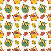 Background with owls and leaves. Vector seamless pattern.  — Stock Vector