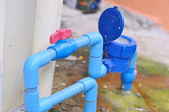 Water valve connects to PVC pipe. — Stock Photo