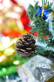 Bright christmas composition with christmas tree and gifts — Stock Photo