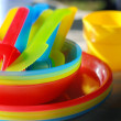 Stock Photo: Colorful picnic ware